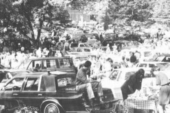 Old school tailgating in the Grove