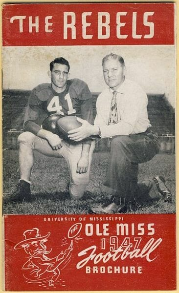 Charlie Conerly and Coach John Vaught on 1947 Ole Miss Football Brochure