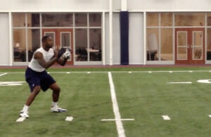 Murphy Holloway prepares to catch a pass while training for the NFL draft. Photo by Shannon deLoach
