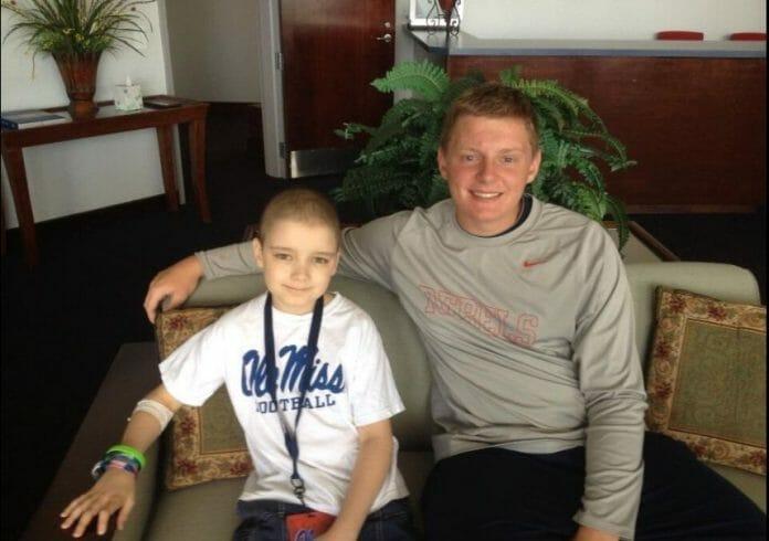 Chance Tetrick and Thomas Allen, Coach Allen's son, during Chance's June 21st visit. Photo courtesy of Coach Tom Allen