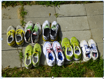 Different shoes for different things. Top row, left to right: 5km racing flat; 10km to ½ marathon racing flat; triathlon (sockless) racing shoe. Bottom row, l to r: track flat; heavy training shoe; bad weather training shoe; long distance training shoe.