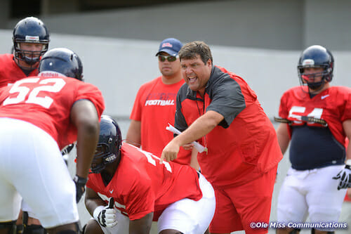Offensive line coach Matt Luke, pictured above, and Jill Freeze will speak at the Wesley Foundation worship service on Thursday evening. / Photo by Nathan Latil/Ole Miss Communications