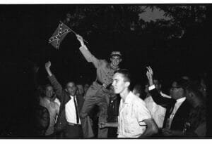 Students protest the integration of Ole Miss.