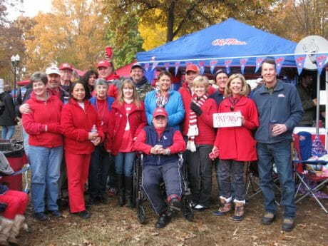 Norma McCullough's Tailgate Group includes: L - R Jan and Lamar Waddell, Max Hipp, Rosie Vassallo, David McCullough (in cap), Barbara Smith, Norma McCullough, Carroll Hulett (also in cap), Christy and Ron Knapp, Scott Martinez, Sandy and Ron Brooks, Sally and James Hargis