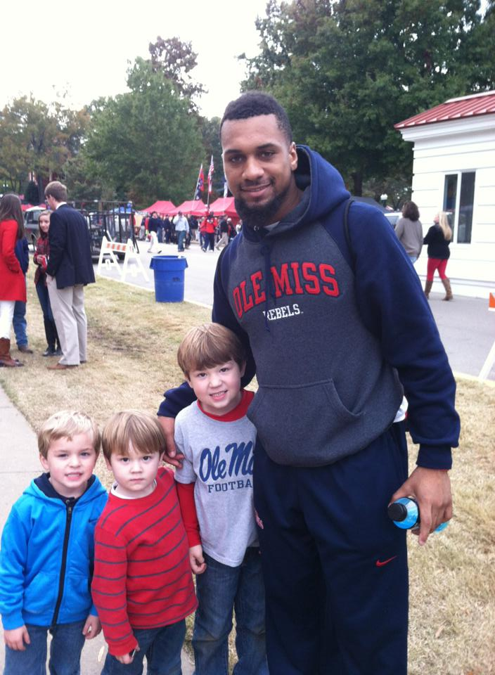 Clay Rodgers is continuing the tailgating tradition with his sons Paul and Clayton. Pictured are: (L-R) Hogan Overby, Paul Rodgers, Clayton Rodgers and Donte Moncrief in the Grove.