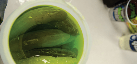 Kool-Aid pickles soak on the counter of a Double Quick gas station in Clarksdale.