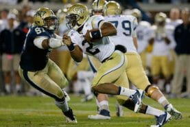 Georgia Tech quarterback Vad Lee is very dangerous running the triple-option / from Getty Images