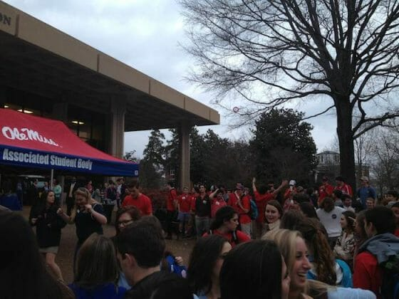 Crowds gathering in front of the union for results.