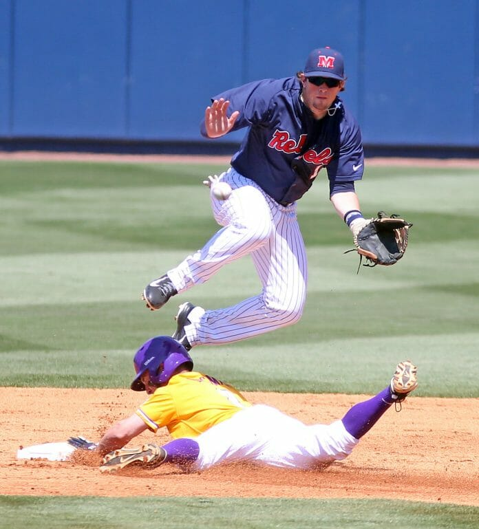Nice feet work by Preston Overbey at second base