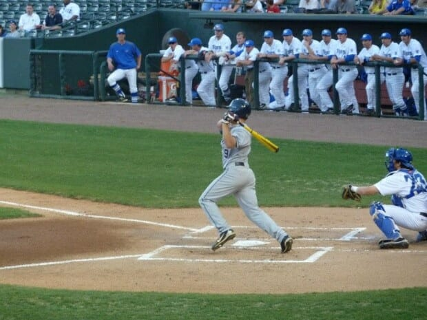 Auston Bousfield at the plate at Autozone Park.