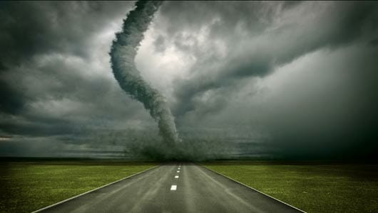 The sight of a tornado on the ground