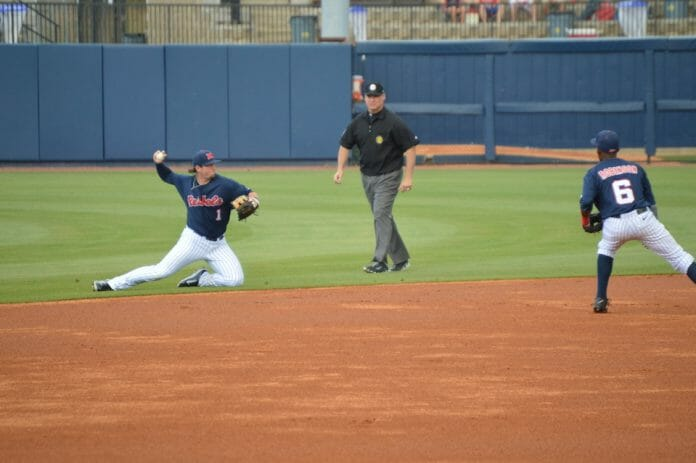 Preston Overbey making a stop at second. Photo by Andy Knef