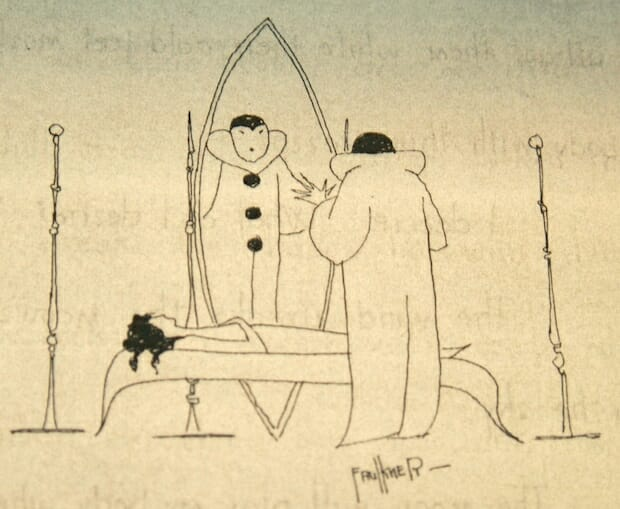One of Faulkner's three drawings on display from The Marionettes.