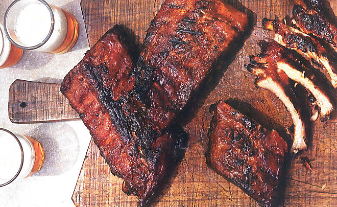 This photo, from D'Artagnan (dartagnan.com) shows ribs finished with coffee barbecue sauce.