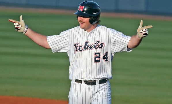Sikes Orvis adds to his RBI total. Photo by Joshua McCoy/ Ole Miss Athletics