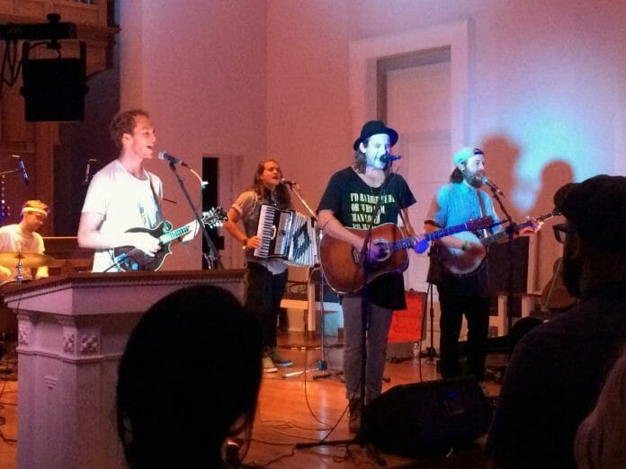 Band members Judah Akers, Nate Zuercher and Brain Macdonald performed Thursday at Paris-Yates Chapel on the University of Mississippi campus. / Photos by Molly Brosier