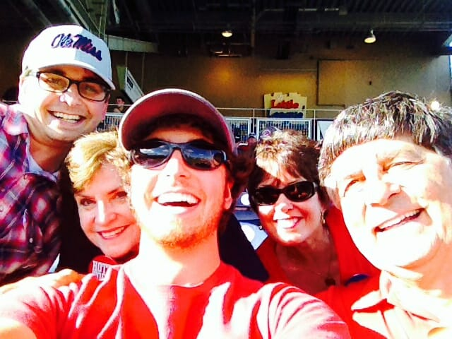 The family takes a selfie at the stadium in Omaha. (photo courtesy of Frances Smith)