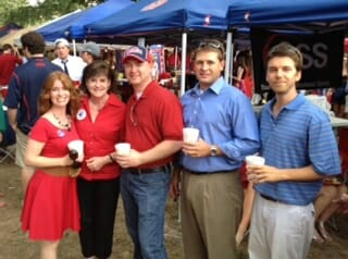 This photo of Frances Smith with her niece and nephews was taken when Longhorns came to Oxford for the game. (from left) Amy Hickox White, Frances Permenter Smith, Bill Hickox,  Andy McMahan and Gy Odom.