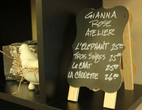 Gianna Rose Atelier are French-milled soaps carved in shapes of small animals from a chicken to three monkeys.