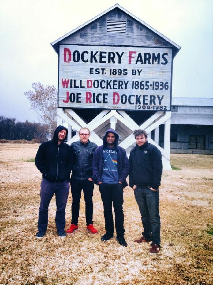 The Australian rock band, The Sunpilots, photographed at Dockery Plantation outside of Cleveland, Miss in early December.  World renowned Delta bluesman, Charley Patton, lived on Dockery Plantation. / Photo by Scott Coopwood