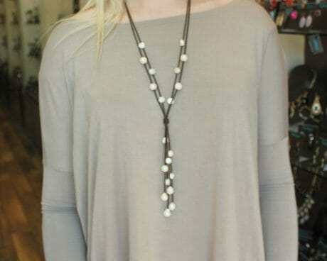 This is a new line of jewelry at Turkoyz: freshwater pearls on leather. They retail at $42.50.