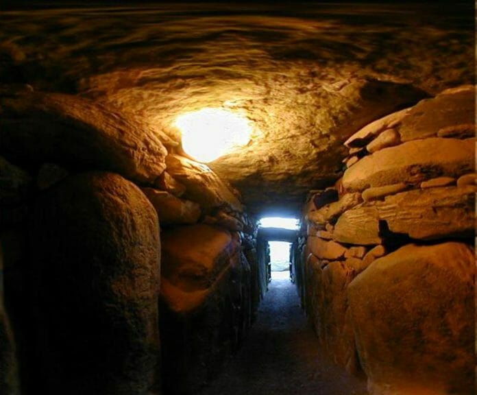 Light comes into the inner chamber of Newgrange in Ireland.