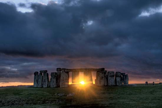 The sunlight aligns with the stones during the winter solstice.  (photo provided by stonehengetours.com)