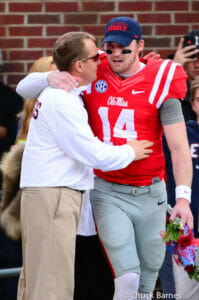 Wallace and Freeze hug before the Egg Bowl. / Photo by Chuck Barnes