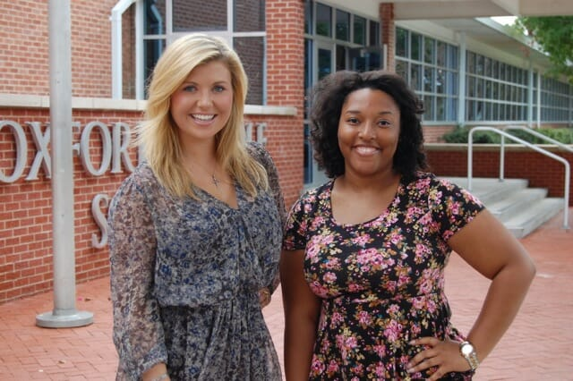 Payton Green (left) and MarKeicha Dickens (right) recently completed their public relations internships with the Oxford School District. Photo courtesy Oxford School District