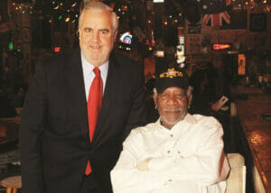 Clarksdale Mayor Bill Luckett with friend and business partner, Morgan Freeman at their Ground Zero Blues club in Clarksdale.