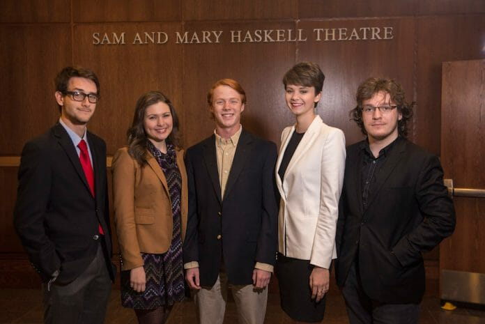 From left, Populi editors Thomas Moorman, Lizzy Wicks, Jesse Webb, Eleanor Anthony and Alex Horne at the Honors Convocation. Not pictured, Christopher McKee.<br /> Photo by Phillip Waller