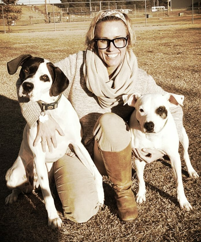 Janet McCarty with Cotton (left) and Clover (right).