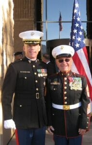 LtCol John Payne, Jr. and Korean War Veteran Sergeant Major Norm Sponcey (USMC Ret) celebrate the 2011 Marine Corps Birthday Ceremony, Fort Huahcuca, AZ, November 2011