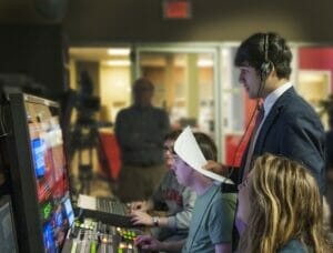 Sudu Upadhyay at Newswatch 99. Photo courtesy of Meek School of Journalism and New Media