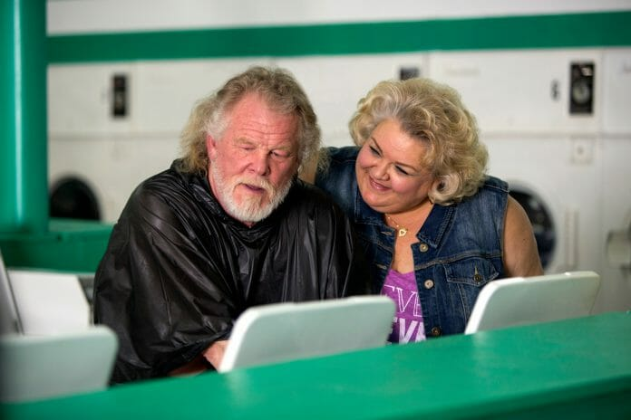 (l to r) Nick Nolte stars as Stephen Katz and Susan McPhail as Beulah in Broad Green Pictures upcoming release, A WALK IN THE WOODS. Credit: Frank Masi, SMPSP / Broad Green Pictures