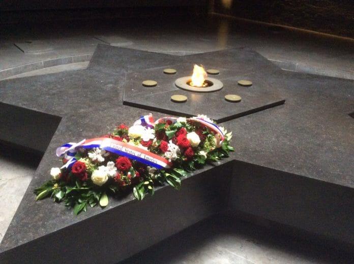 U.S. flowers at a Paris memorial