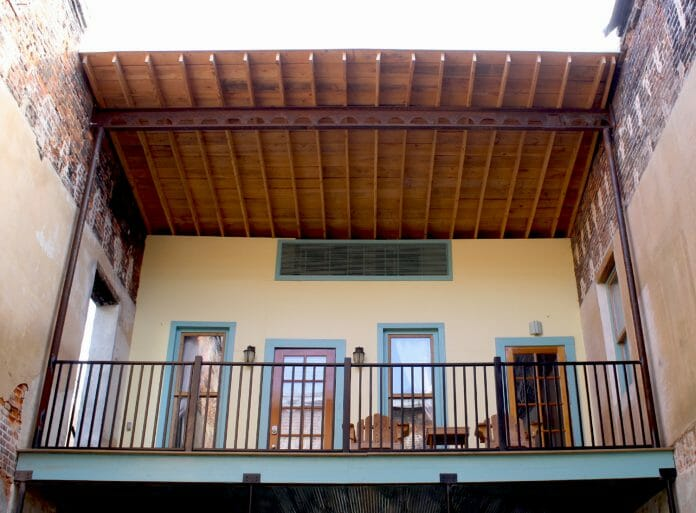 A second floor balcony at Blu-Buck Mercantile Hotel in Water Valley. Photo by Jeff McVay