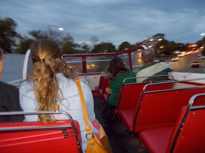 YAC's monthly Oxford Art Crawl features rides on the iconic Double Decker bus to art exhibits around Oxford and Ole Miss. Photo courtesy of YAC