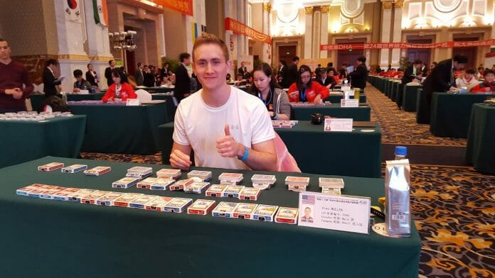 Mullen prepares before the hour cards event on Day 2 of the 2015 World Memory Championships. Competitors had one hour to memorize as many decks of playing cards as possible. Mullen finished 2nd with a score of 28 decks and 4 cards. (courtesy)