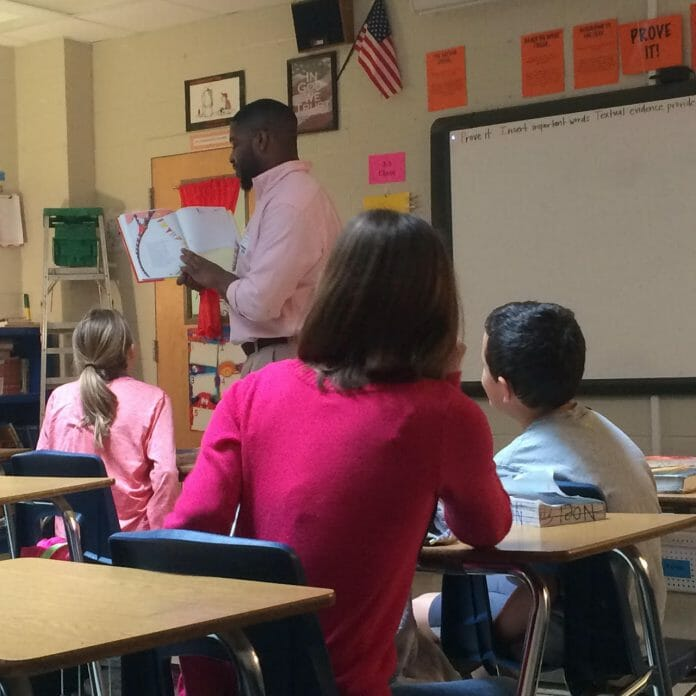 D.T. Shackleford reading to Mrs. Andrea Terry's fifth grade class.  Photos courtesy Brooke Gobert.