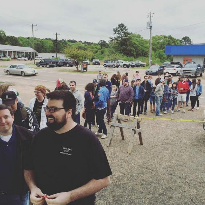 Customers lined up in front of The End Of All Music to be first in the store on Record Store Day on April 16, 2016. Photo: End of All Music