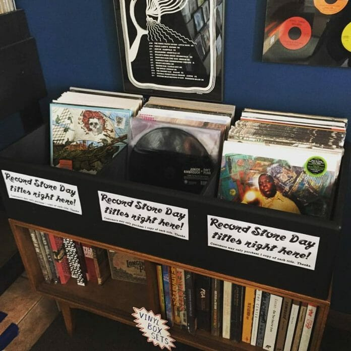 Records are placed in bins for customers to look through at The End of All Music on April 16, 2016. Photo: The End of All Music Facebook