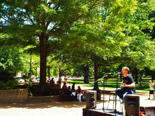 Mason playing outside of Student Union at The University of Mississippi. Photo by Taylor Lust