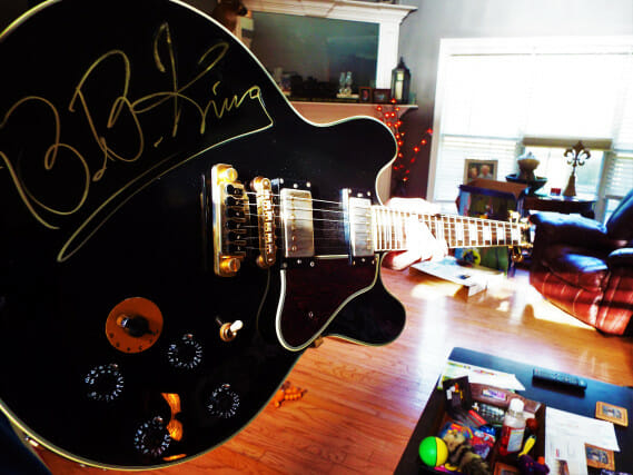 Lucille, Mason's model of B.B. King's guitar, signed by B.B. King himself.  Photo by Taylor Lust.