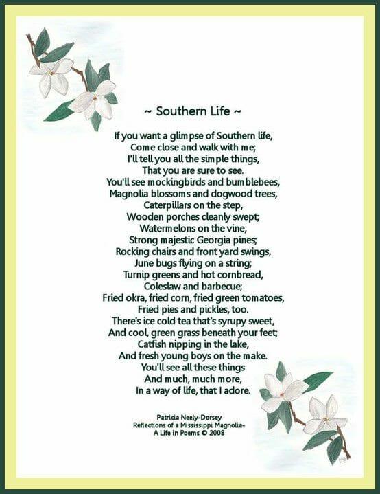 a a a poem southern life
