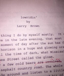 The first page of the discovered Larry Brown's manuscript.
