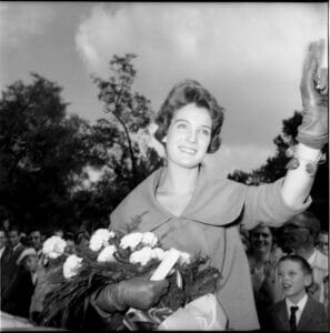 Linda Meade upon her return to Ole Miss after winning the 1960 Miss America title. Mary Ann Mobley, also of Ole Miss, had won the 1959 title.