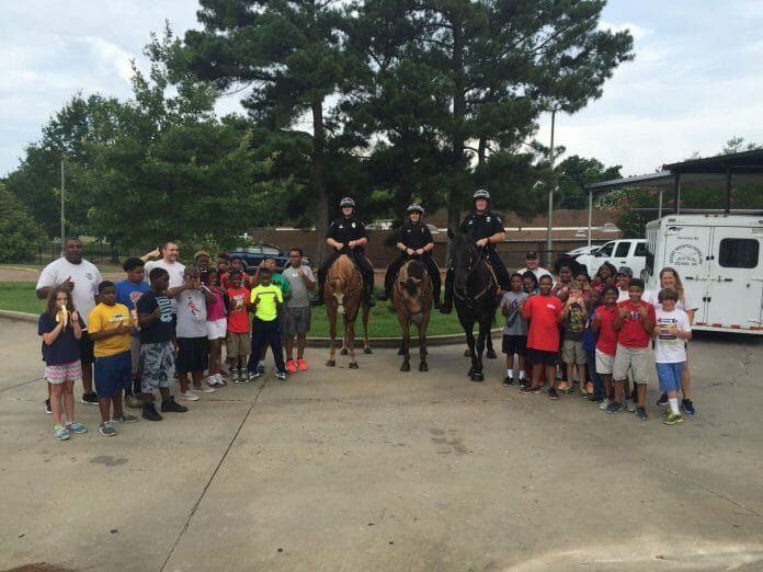 Oxford Mounted Patrol visited the campers too. (Picture from Facebook.com/ Oxford MS Police Department)