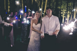 Walter's first wedding shoot involved capturing the newlyweds' exit ina tunnel of sparklers. (Photo courtesy of Walter Lyle)