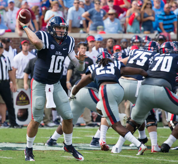 Ole Miss' Chad Kelly throws downfiled.